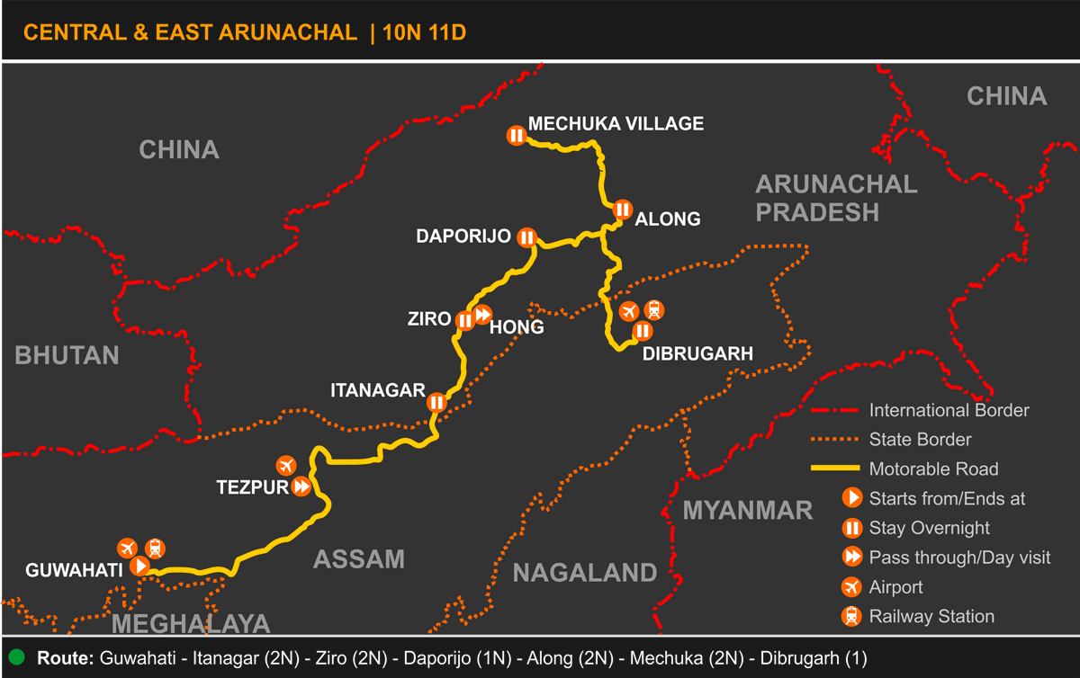 Central and East Arunachal Tour Itinerary