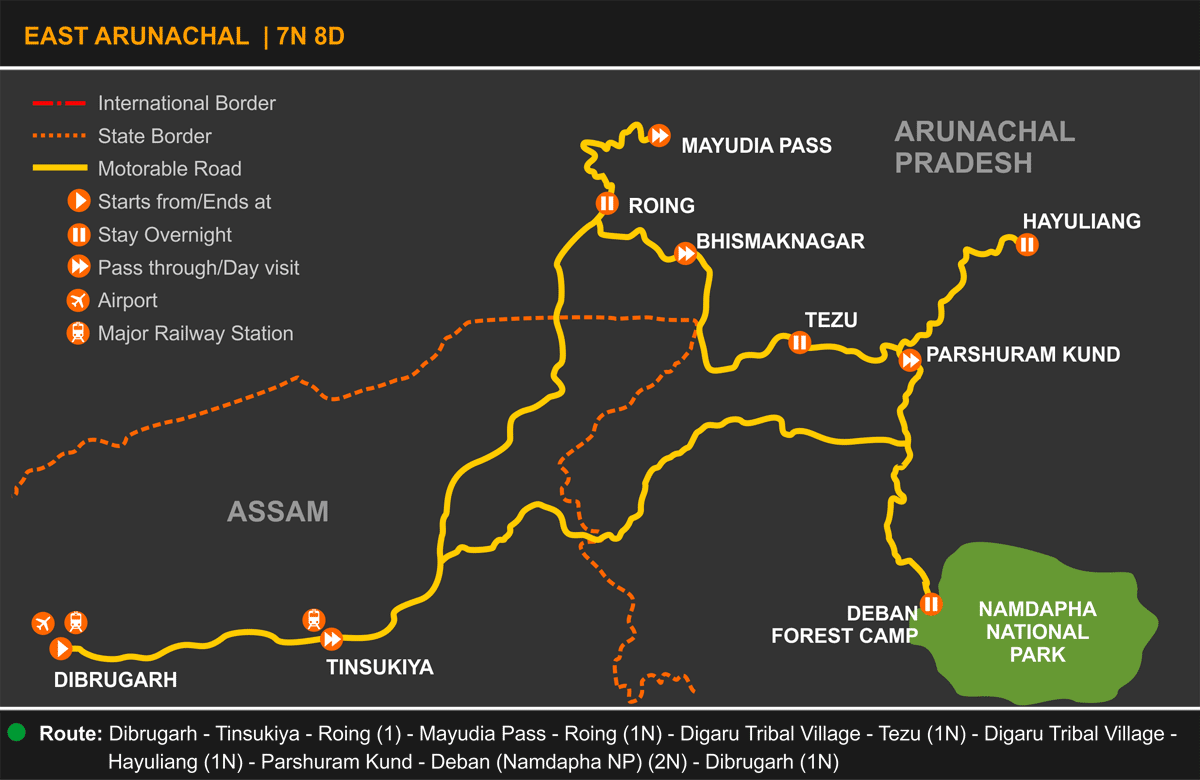 East Arunachal Tour Itinerary